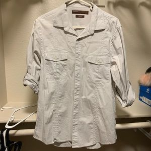 Great Perry Ellis light gray button down!
